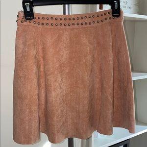 Suede side zip pink skirt